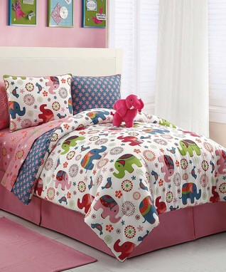 Pink Elephant Comforter Set