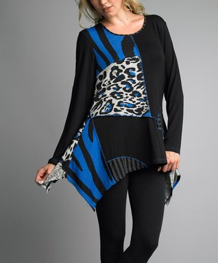 Black & Royal Blue Patchwork Handkerchief Tunic - Women