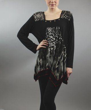 Black Leopard Patchwork Sidetail Tunic - Women & Plus