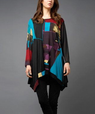 Turquoise Patchwork Sidetail Tunic - Women