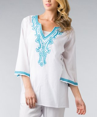 White & Turquoise Embroidered Tunic - Women & Plus