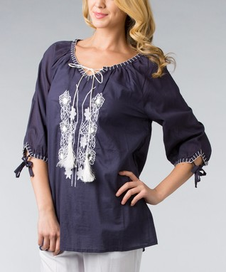 Navy & White Tie-Neck Embroidered Top - Women & Plus