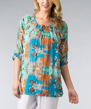 Blue Vintage Floral Tie-Neck Top - Women