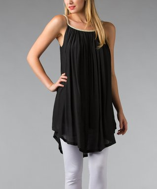 Black Braided Sleeveless Shift Tunic - Women