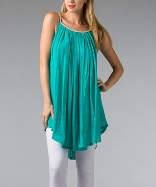 Turquoise Braided Sleeveless Shift Tunic - Women