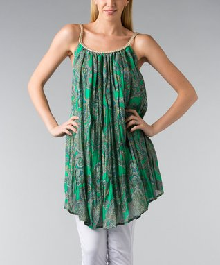 Green Paisley Braided Sleeveless Shift Tunic - Women