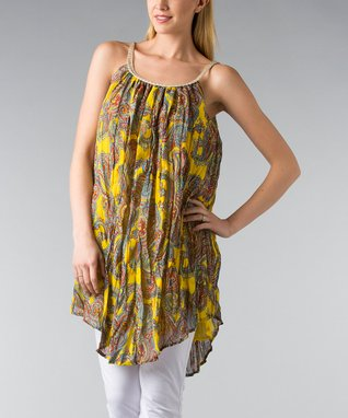 Yellow Paisley Braided Sleeveless Shift Tunic - Women