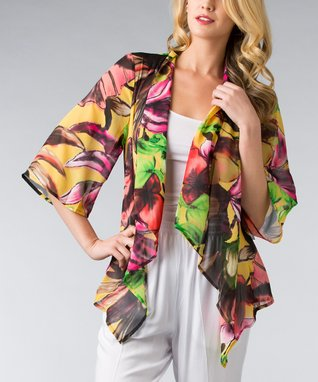 Yellow Tropical Open Cardigan - Women