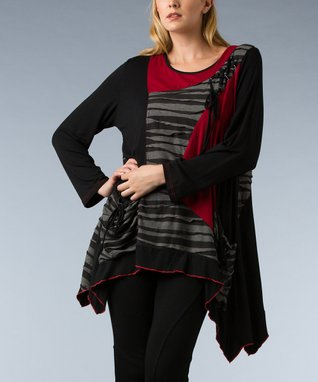 Black & Red Patchwork Sidetail Tunic - Women