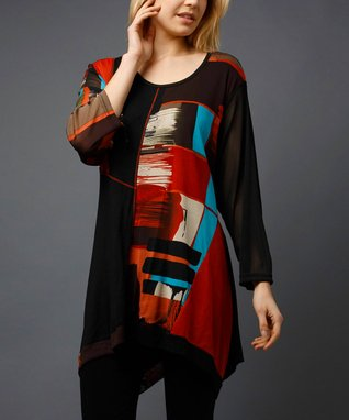 Rust Patchwork Sidetail Tunic - Women