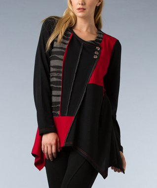 Black & Red Stripe Patchwork Handkerchief Tunic - Women & Plus