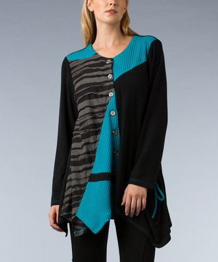 Black & Teal Stripe Patchwork Sidetail Tunic - Women & Plus