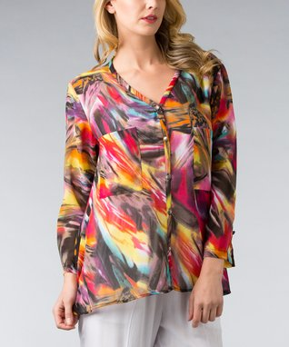 Pink & Purple Abstract Button-Up - Women