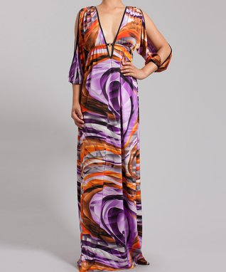 Purple & Orange Swirl Cutout V-Neck Maxi Dress