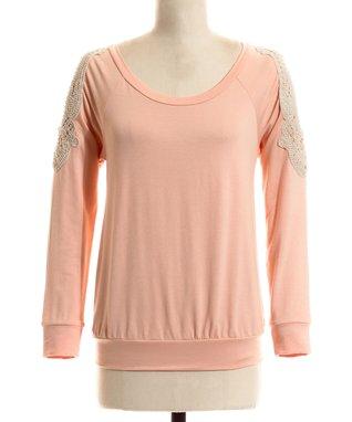 Peach Floral Lace Sleeveless Dress