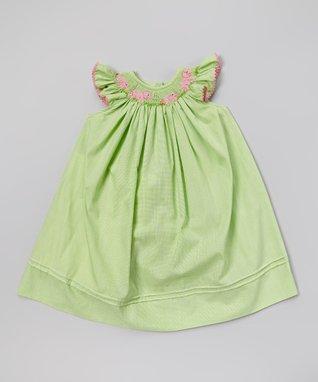 Vive La Fête Green Smocked Undersea Bishop Dress - Infant, Toddler & Girls