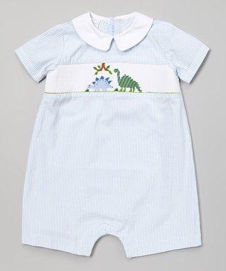 Blue Smocked Dinosaur Romper - Infant
