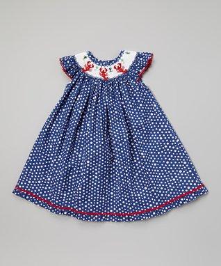 White Tee & Blue Smocked Birthday John Johns - Infant & Toddler