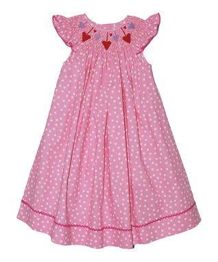 Pink Smocked Birthday Bishop Dress - Girls