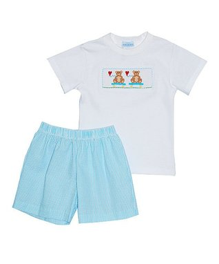 Hearts Smocked Girls Angel Wing Bubble - Infant