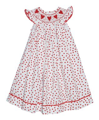 Red Hearts Smocked Bubble Bodysuit - Infant