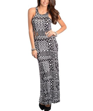 Black & White Geometric Maxi Dress