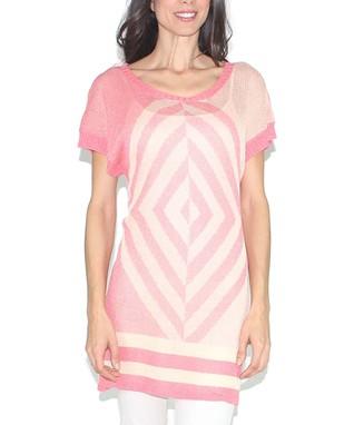 Design 26 Coral & Taupe Diamond Scoop Neck Sweater