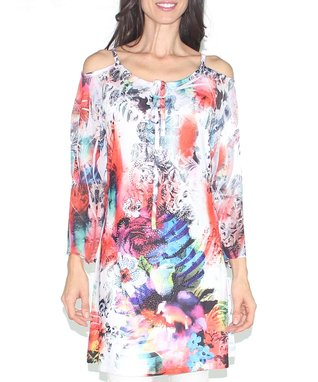 Design 26 Red & White Rose Abstract Cutout Tie-Neck Tunic