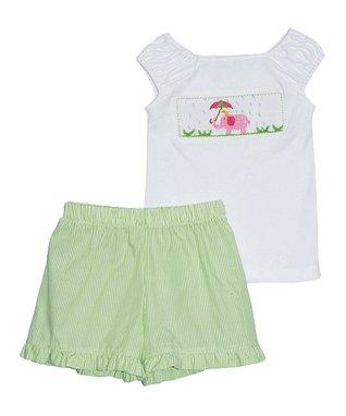 Vive La Fête White Spring Showers Tee & Green Shorts - Infant, Toddler & Girls