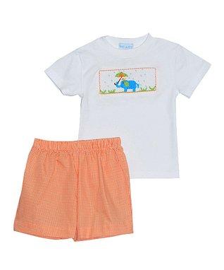 Vive La Fête Orange Smocked Beach Bubble Bodysuit - Infant