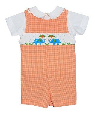 Vive La Fête Orange Gingham Spring Shower Romper - Infant