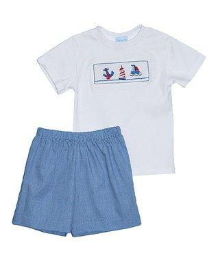 White Teddy Bear Tee & Blue Shorts - Infant & Toddler