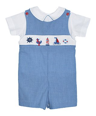 Vive La Fête White Seashell Tee & Blue Shorts - Infant, Toddler & Boys