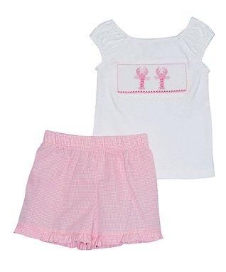 Vive La Fête White Lobster Tee & Light Pink Shorts - Infant, Toddler & Girls