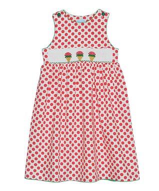 Vive La Fête Red Polka Dot Ice Cream Smocked Dress - Infant & Toddler