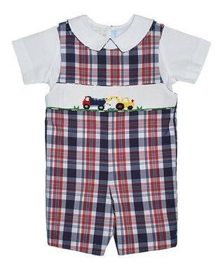 Vive La Fête White Dump Truck Tee & Red Shorts - Infant