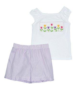 Vive La Fête White Tulip Tee & Purple Shorts - Infant, Toddler & Girls