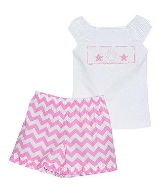 Vive La Fête Pink Seashell Tee & Pink Zigzag Shorts - Infant, Toddler & Girls