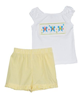 Vive La Fête White Butterfly Tee & Yellow Shorts - Infant, Toddler & Girls