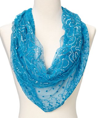 Dark Green Floral Lace Scarf