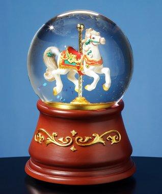 Heritage Single Horse Carousel Musical Water Globe
