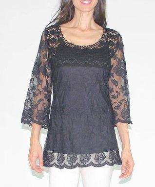 Design 26 Black Lace Three-Quarter Sleeve Top