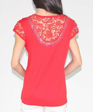 Design 26 Red Lace Top