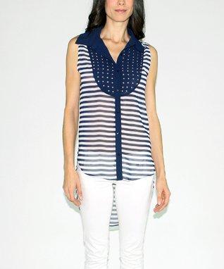 Design 26 Navy Stripe Studded Button-Up Top