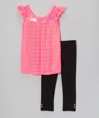 Pogo Club Coral Floral Pauline Tunic Set - Girls