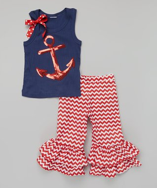 Red Anchor Tank & Ruffle Pants - Infant, Toddler & Girls