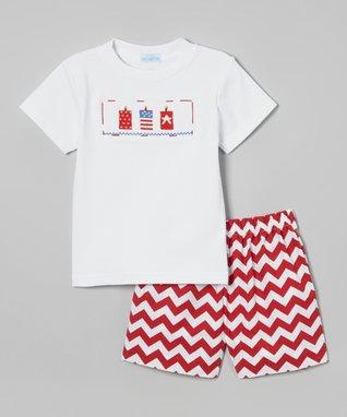 Vive La Fête Red American Smocked Angel-Sleeve Dress - Infant, Toddler & Girls