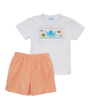 Vive La Fête White Under the Sea Tee & Orange Shorts - Infant, Toddler & Boys