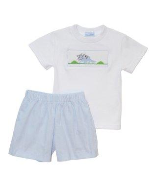 Vive La Fête White Smocked Dinosaur Tee & Shorts - Infant, Toddler & Girls