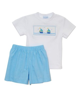 Vive La Fête White Smocked Sailing Tee & Shorts - Infant, Toddler & Boys